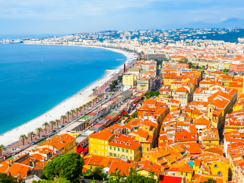 Nice is located in the French Riviera on the south east coast of France.